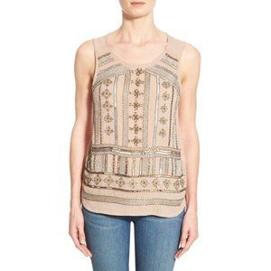 Lucky Brand Beige Beaded Embellished Tank Top